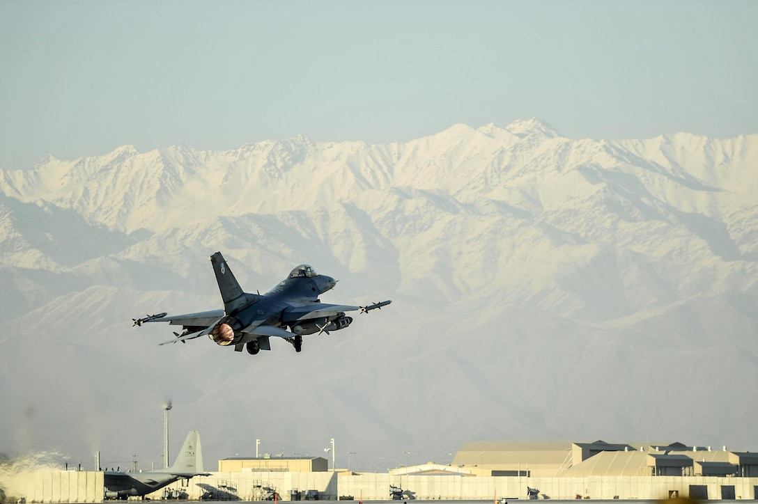 An F-16 Fighting Falcon aircraft takes off for a combat sortie from Bagram Airfield, Afghanistan Feb. 1, 2016. Air Force photo by Tech. Sgt. Nicholas Rau