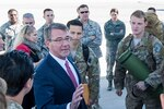 Defense Secretary Ash Carter speaks to airmen at Nellis Air Force Base, Nev., Feb. 4, 2016. Air Force photo by Staff Sgt. Siuta B. Ika