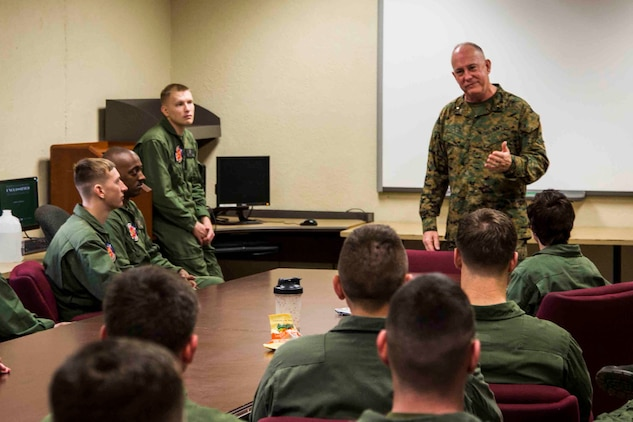 Rear Admiral Brent W. Scott speaks to Marines aboard Marine Corps Air Station Beaufort Feb. 3. Scott is the 19th Chaplain of the United States Marine Corps and the Deputy Chief of Navy Chaplains. The Marines are with Aircraft Rescue and Firefighting.
