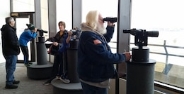 Visitors take part in Eagle watching from the Lewis and Clark Visitor Center, Gavins Point Dam during Bald Eagle Days, January 29-31, 2016.
