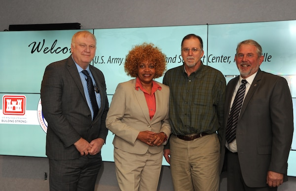 Huntsville Center's Arkie Fanning, April Rafael-Adams, Pat Haas and Boyce Ross are part of the team receiving the Procurement Team of the Year in the 2015 USACE Excellence in Contracting Awards Program.