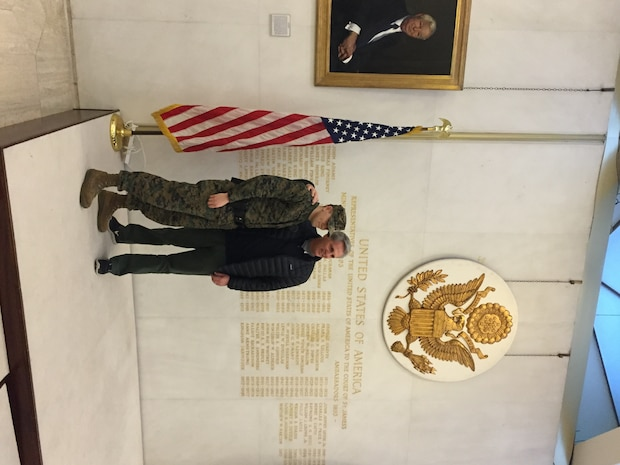 House Majority Leader Kevin McCarthy with Corporal Smith at U.S. Embassy to the United Kingdom