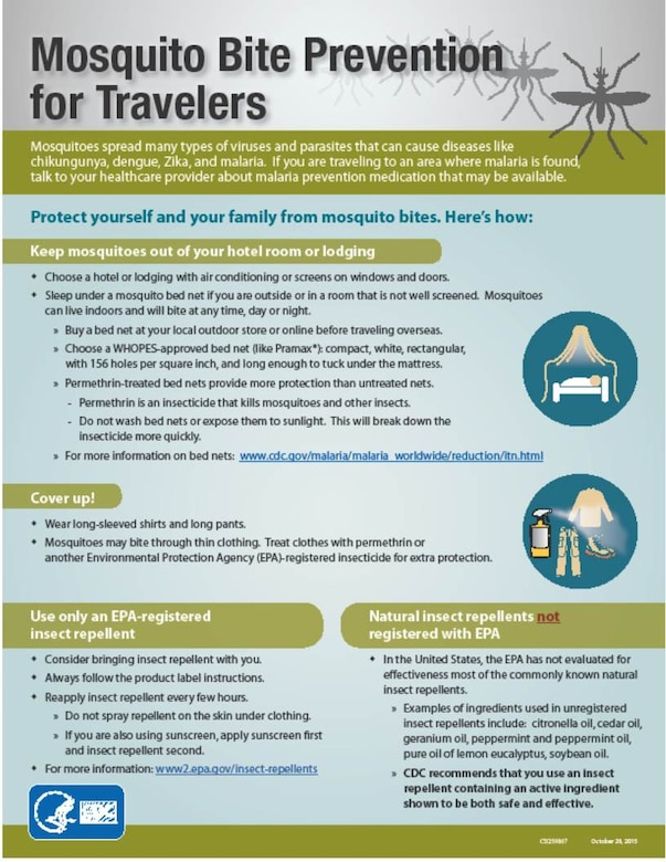 Mosquito prevention information graphic from the Centers for Disease Control and Prevention