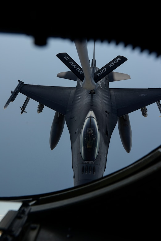 A KC-135 Stratotanker assigned to the 63rd Air Refueling Squadron, 927th Operations Group at MacDill Air Force Base, Fla., refuels an F-16 Fighting Falcon fighter aircraft assigned to the 480th Expeditionary Fighter Squadron, Spangdahlem Air Base, Germany, during a flying training deployment at Souda Bay, Greece, Feb. 2, 2016. Approximately 300 personnel and 18 F-16s from the 52nd Fighter Wing at Spangdahlem Air Base, Germany, will support the FTD as part of U.S. Air Forces in Europe-Air Forces Africa's Forward Ready Now stance. (U.S. Air Force photo by Staff Sgt. Christopher Ruano/Released)