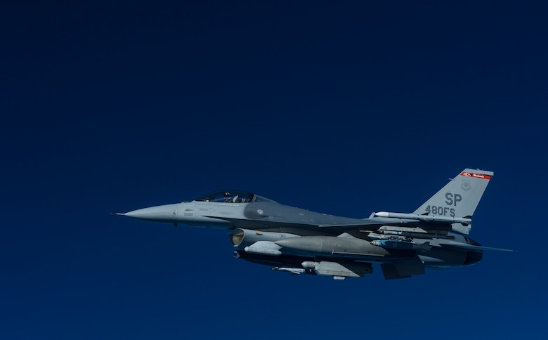 A KC-135 Stratotanker assigned to the 63rd Air Refueling Squadron, 927th Operations Group at MacDill Air Force Base, Fla., refuels an F-16 Fighting Falcon fighter aircraft assigned to the 480th Expeditionary Fighter Squadron, Spangdahlem Air Base, Germany, during a flying training deployment at Souda Bay, Greece, Feb. 2, 2016. Eight aircraft from the 480th EFS participated in the refueling mission. (U.S. Air Force photo by Staff Sgt. Christopher Ruano/Released)