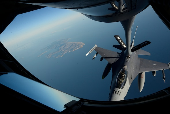 A KC-135 Stratotanker assigned to the 63rd Air Refueling Squadron, 927th Operations Group at MacDill Air Force Base, Fla., refuels an F-16 Fighting Falcon fighter aircraft assigned to the 480th Expeditionary Fighter Squadron, Spangdahlem Air Base, Germany, during a flying training deployment at Souda Bay, Greece, Feb. 2, 2016. The 63rd ARS is operating out of Souda Bay Naval Air Station for the duration of the FTD. (U.S. Air Force photo by Staff Sgt. Christopher Ruano/Released)