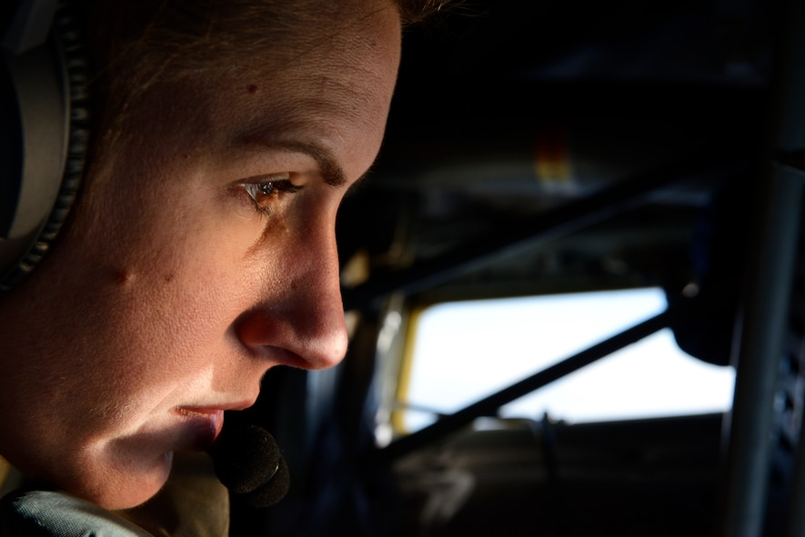 U.S. Air Force Staff Sgt. Brittany Bahner, a KC-135 Stratotanker boom operator assigned to the 63rd Air Refueling Squadron, 927th Operations Group at MacDill Air Force Base, Fla., focuses on attaching the boom to an F-16 Fighting Falcon fighter aircraft assigned to the 480th Expeditionary Fighter Squadron during a flying training deployment at Souda Bay, Greece, Feb. 2, 2016. The plane can deliver 1K gallons of fuel per minute, carry up to 200K pounds of fuel, 83K pounds of cargo and provide air refueling to all branches of service NATO and allied partners. (U.S. Air Force photo by Staff Sgt. Christopher Ruano/Released)