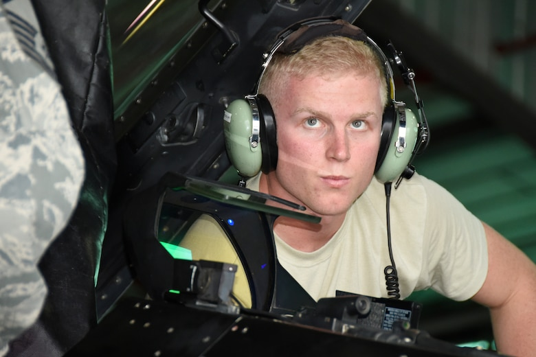 SAVANNAH CRTC, GA - Senior Airman Eric Hunstad, 114th Maintenance Group avioinics technician, listens intently as he works with other team members on an F-16 aircraft during Sentry Savannah 16-1 Feb.3, 2016. The 114th Fighter Wing deployed to Savannah CRTC to participate in the exercise with other Active Duty and Air National Guard units.(U.S. Air National Guard photo by Senior Master Sgt. Nancy Ausland/Released)
