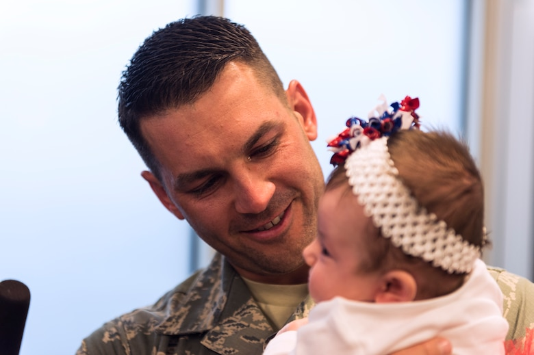 Master Sgt. Daniel Owczarczak, an Airman assigned to the 107th Security Forces Squadron, N.Y., gets to hold his newborn daughter for the first time. Owczarczak was one of more than 30 Airmen from the 107th SFS to return from a six-month deployment to Southwest Asia, Feb. 4-5, 2016. (U.S. Air National Guard photo by Staff Sgt. Ryan Campbell/Released)