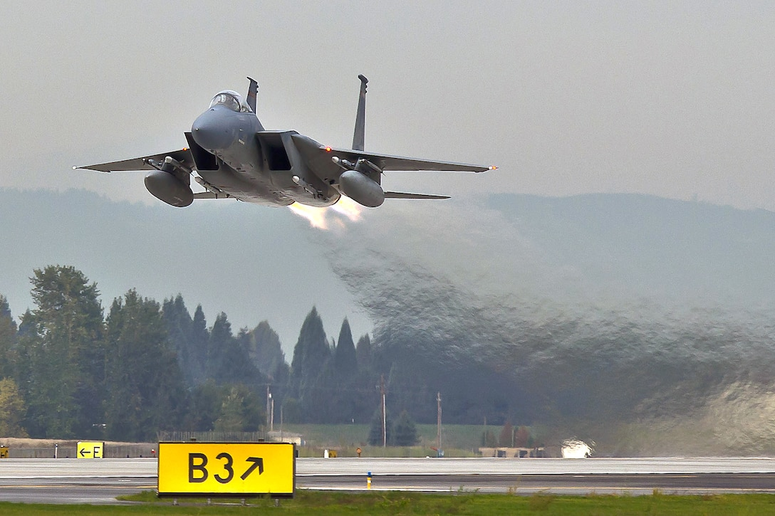 An F-15 Eagle assigned to the 142nd Fighter Wing launches from the Portland Air National Guard Base. (U.S. Air National Guard courtesy photo, 142nd Fighter Wing Public Affairs)