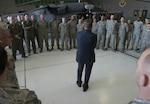 Defense Ash Carter speaks to airmen assigned to the 66th Rescue Squadron on Nellis Air Force Base, Nev., Feb. 4, 2016. (DoD photo by Navy Petty Officer 1st Class Tim D. Godbee)