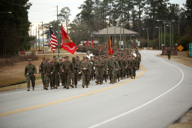 More than 5,000 Marines and sailors with 2nd Marine Division march in the unit's 75th anniversary parade in downtown Jacksonville, N.C., Feb. 6, 2016. The celebration serves as a time to remember the Marines and sailors who served and continue to serve in 2nd Marine Division, while thanking the local community for their support. (U.S. Marine Corps photo by Cpl. Joey Mendez/Released)