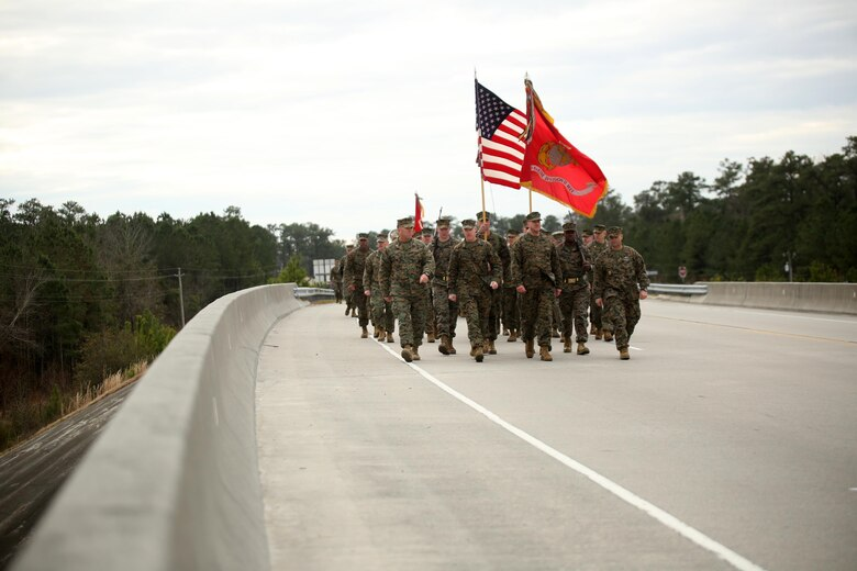 Maj. Gen. Brian D. Beaudreault, commanding general of 2nd Marine Division, leads more than 5,000 service members in the unit's 75th anniversary parade through downtown Jacksonville, N.C., Feb. 6, 2016. The celebration serves as a time to remember the Marines and sailors who served and continue to serve in 2nd Marine Division, while thanking the local community for their support. (U.S. Marine Corps photo by Cpl. Joey Mendez/Released)