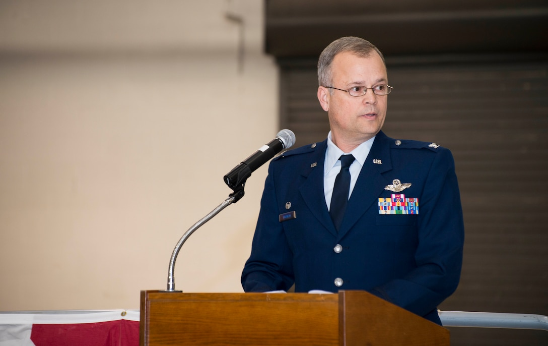 Colonel Brian S. Bowman addresses members of the 914th Airlift Wing during the Assumption of Command ceremony, February 6, 2016, Niagara Falls Air Reserve Station, N.Y. (U.S. Air Force photo by Tech. Sgt. Stephanie Sawyer)