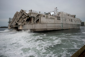 (Nov. 5, 2014) The Military Sealift Command joint high-speed vessel USNS Choctaw County (JHSV 2) departs Morehead City, N.C. to conduct training exercises off the coast of North Carolina during Bold Alligator 2014. Bold Alligator is intended to improve Navy and Marine Corps amphibious core competencies. Working with coalition, NATO, allied and partner nations is a necessary investment in the current and future readiness of our forces.