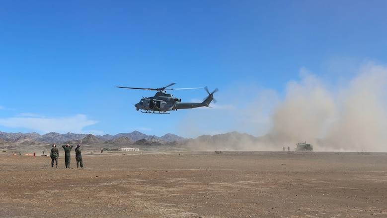 Marines with Marine Light Attack Helicopter Squadron 267 land a UH-1Y Huey to refuel during exercise Scorpion Fire 1-16 aboard Navy Air Facility El Centro, Calif., Jan. 25, 2016. HMLA-267 supported the exercise with close air support and live-fire capabilities, Jan. 25 to Feb. 5, 2016.