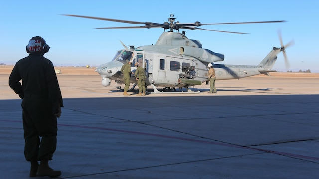 Marines with Marine Light Attack Helicopter Squadron 267 land a UH-1Y Huey during exercise Scorpion Fire 1-16 aboard Navy Air Facility El Centro, Calif. Jan. 25, 2016. HMLA-267 supported the exercise with close air support and live-fire capabilities, Jan. 25 to Feb. 5, 2016.