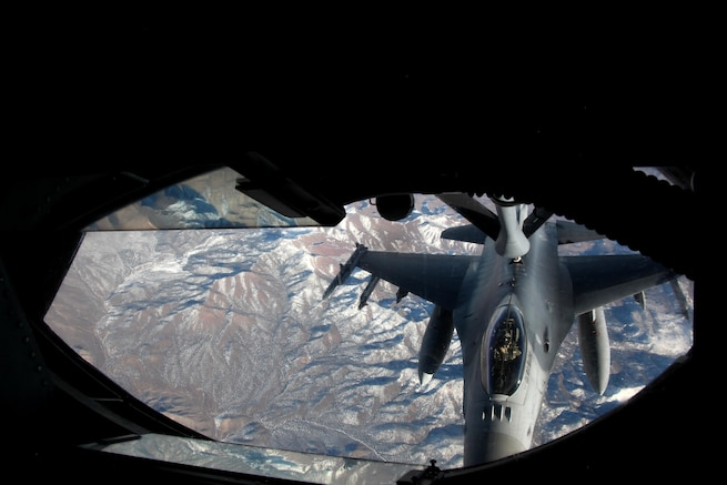An F-16 Fighting Falcon aircraft connects to the boom of a KC-135 Stratotanker to refuel during exercise Red Flag 16-1 over the Nevada Test and Training Range, Jan. 28, 2016. Air Force photo by Master Sgt. Burt Traynor