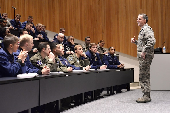 Air Force Vice Chief of Staff Gen. David Goldfein discusses the value of commitment to a higher cause with a group of senior leaders and cadets at the U.S. Air Force Academy, Colo., Jan. 27, 2016. (Courtesy photo)