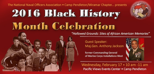 "The National Naval Officers Association is presenting the 2016 Black History Month Celebration, ""Hallowed Ground: Sites of African American Memories,"" Wednesday, February 17 from 10 am - 11 am at the Pacific Views Events Center.