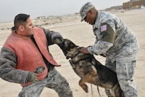 Air Force Tech. Sgt. Max Soto, left, and Staff Sgt. Jahmal Hardy practice patrol training with Nero, a military working dog, on Al Udeid Air Base, Qatar, Jan. 27, 2016. Soto and Hardy are working dog trainers assigned to the 379th Expeditionary Security Forces Squadron. The training is aimed in part at apprehending and locating suspicious individuals. Air Force photo by Tech. Sgt. Terrica Y. Jones