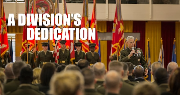 """Maj. Gen. Brian D. Beaudreault, commanding general of 2nd Marine Division, addresses the attendees of the 2nd Marine Division battle streamer rededication and award ceremony at Camp Lejeune, N.C., Feb. 5, 2016. """"This ceremony is about winning, it's about the achievements of the 2nd Marine Division, it's about recognizing Marines, and it's about what it took to hang that battle streamer,"""" Beaudreault said. (U.S. Marine Corps photo illustration by Lance Cpl. Luke Hoogendam/Released)"""