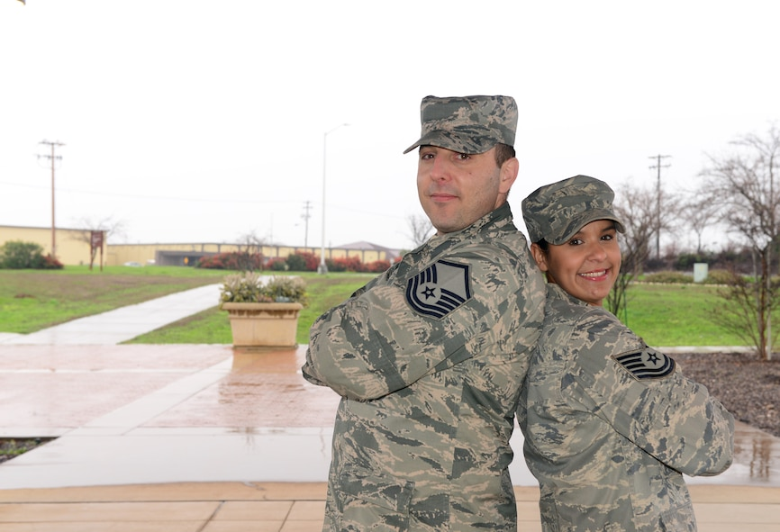 Master Sgt. Michael (left), 9th Intelligence Squadron and Tech Sgt. Elizabeth, 48th Intelligence Squadron. (U.S. Air Force photo by Tech. Sgt. Schelli T. Jones)