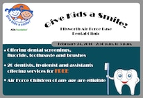 """Ellsworth's Dental Clinic will provide free dental services during """"Give Kids a Smile Day,"""" where an estimated 20 dentists, hygienists, assistants and volunteers will service around 100 children for dental screenings, fluoride, toothbrushes and toothpaste, and provide dental education. (U.S. Air Force graphic by Airman Sadie Colbert/Released)"""