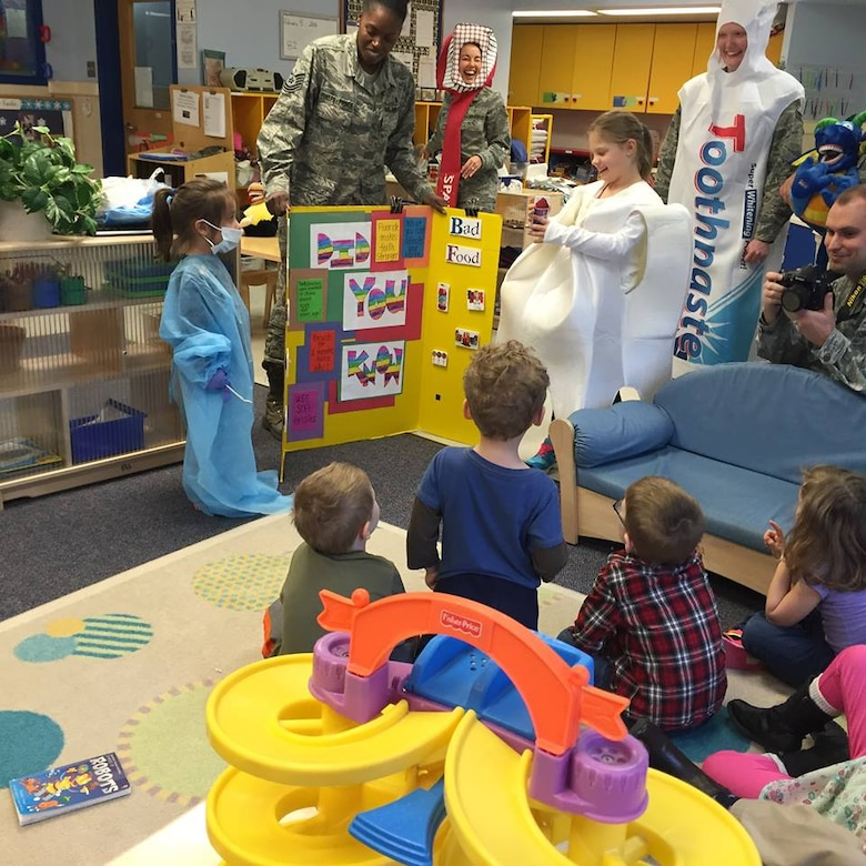 On Feb. 5, members of the Dental Squadron from the 779th Medical Group went to the Child Development Center on Joint Base Andrews to teach the kids about good dental health. (AF photo by Melanie Moore/Released)