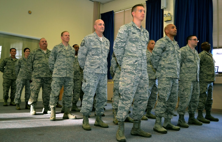 Members of the 111th Air Operations Group at Horsham Air Guard Station, Pennsylvania, stand in formation for the final time during the 111th AOG deactivation ceremony held Feb. 6, 2016. Many members of the group will be reassigned to other units within the Wing. (U.S. Air National Guard photo by Tech. Sgt. Andria Allmond)