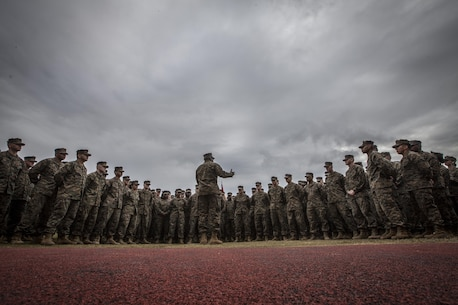 The 18th Sergeant Major of the Marine Corps, Ronald L. Green, speaks to Marines assigned to Marine Forces Reserve and Marine Forces North aboard Marine Corps Support Facility New Orleans, LA, Jan. 20, 2016. (U.S. Marine Corps photo by Sgt. Melissa Marnell, Office of the Sergeant Major of the Marine Corps/Released)