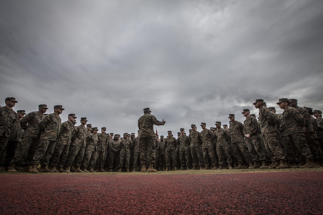 The 18th Sergeant Major of the Marine Corps, Ronald L. Green, speaks to Marines assigned to Marine Forces Reserve and Marine Forces North aboard Marine Corps Support Facility New Orleans, LA, Jan. 20, 2016.