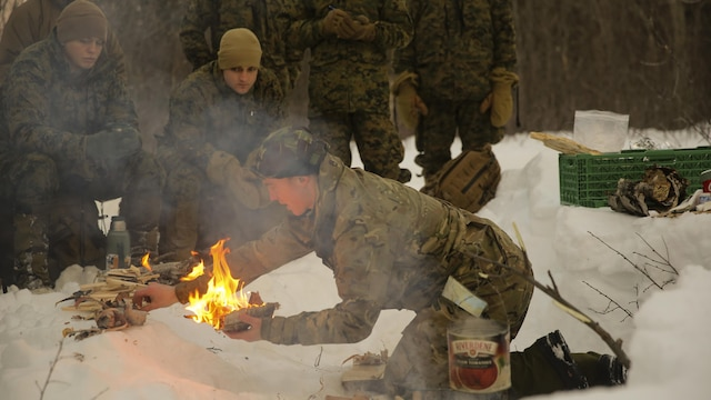 A U.K. Royal Commando mountain leader creates a fire to demonstrate survival techniques to U.S. Marines during cold-weather training at Skoganvarre, Norway, Feb. 5, 2016. The Arctic training was conducted by the U.K. Royal Commandos and hosted by the Norwegian military to improve the U.S. Marine Corps' capability to support their NATO Allies in extreme environments.
