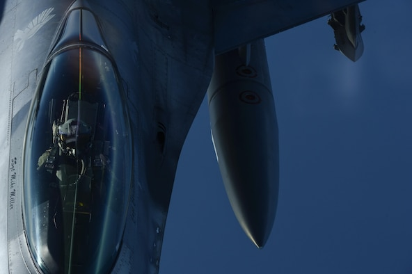 A KC-135 Stratotanker, assigned to the 63rd Air Refueling Squadron at MacDill Air Force Base, Fla., refuels an F-16 Fighting Falcon, assigned to the 480th Expeditionary Fighter Squadron at Spangdahlem Air Base, Germany, during a flying training deployment at Souda Bay, Greece, Feb. 2, 2016. The 63rd ARS operated out of Souda Bay Naval Air Station for the duration of the flying training deployment. (U.S. Air Force photo/Staff Sgt. Christopher Ruano)
