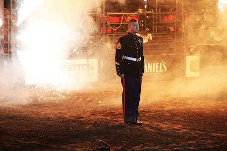Staff Sgt. Dalton Revier, a recruiter with Marine Corps Recruiting Station Twin Cities, was honored as the hometown hero at the World's Toughest Rodeo in Saint Paul, Minn. Feb. 5. Revier, a Twin Cities native, was selected for this honor due to his exceptional service both at home and abroad.