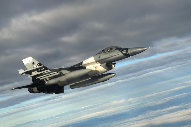 An F-16 Fighting Falcon aircraft supports Forceful Tiger near Okinawa, Japan, Jan. 28, 2016. The pilot is assigned to the 18th Aggressor Squadron at Eielson Air Force Base, Alaska. The annual exercise demonstrates the 18th Wing's combat capabilities in the region. Air Force photo by Staff Sgt. Maeson L. Elleman