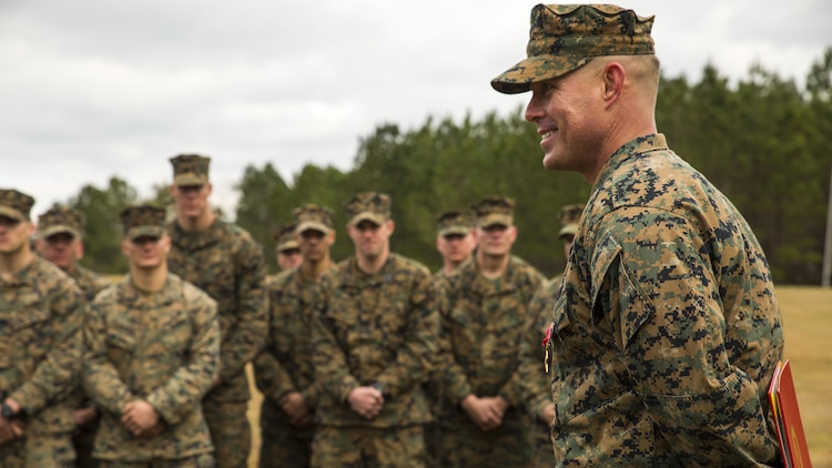 Staff Sgt. Nathan A. Hervey, an instructor with the Advanced Infantry Training Battalion at the School of Infantry-East, speaks to Marines at Marine Corps Base Camp Lejeune, North Carolina, Feb. 5, 2016. Hervey was awarded the Bronze Star Medal with the combat distinguishing device for valor, and was recognized for extraordinary heroism for his actions on May 21, 2011, while carrying out his duties as a scout sniper section leader with 3rd Battalion, 2nd Marine Regiment, in support of Operation Enduring Freedom.