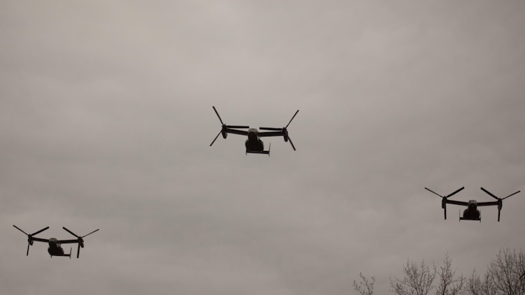 MV-22B Ospreys fly over Quantico National Cemetery during a ceremony to celebrate the life of Lt. Gen. William H. Fitch (ret.), Feb. 4, 2016, in Triangle, Virginia. Fitch died Jan. 19, 2016. He served as the Deputy Commandant for Aviation before he retired in 1984 after 32 years as a Marine Corps officer.
