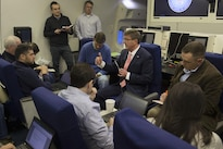 Defense Secretary Ash Carter speaks with reporters aboard an Air Force E4-B aircraft as he flies to Brussels, Feb. 9, 2016, to attend NATO meetings for defense ministers. DoD photo by Air Force Senior Master Sgt. Adrian Cadiz