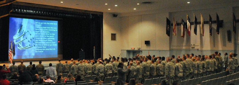 Soldiers at the Army's Noncommissioned Officer Academy located on Joint Base McGuire-Dix-Lakehurst, N.J., sing the U.S. Air Force Song in recognition of the two Airmen graduating alongside them Jan. 28 as part of the academy's first joint-service course.