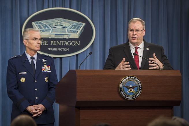 Deputy Defense Secretary Bob Work announces details of the Defense Department's fiscal year 2017 budget proposal as Air Force Gen. Paul J. Selva, vice chairman of the Joint Chiefs of Staff, looks on during a press briefing at the Pentagon, Feb. 9, 2016. DoD photo by Navy Petty Officer 1st Class Tim D. Godbee