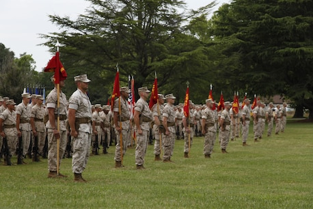 U.S. Marines from the Marine Corps Security Force Regiment stand at attention during the Security Force Regiment Change of Command ceremony aboard Naval Weapons Station Yorktown, Va., June 19, 2015. The ceremony had platoons composed of Marines representing Security Force Regiment commands across the United States and around the world. (U.S. Marine Corps photo by Sgt. Esdras Ruano/Released)