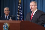 Deputy Defense Secretary Bob Work announces details of the Fiscal Year 2017 Defense Budget propoal during a news conference at the Pentagon, Feb. 9, 2016. Work is joined by Air Force Gen. Paul J. Selva, vice chairman of the Joint Chiefs of Staff. DoD photo by Navy Petty Officer 1st Class Tim D. Godbee