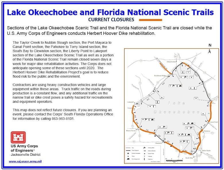 Lake Okeechobee Scenic Trail - Current Closures