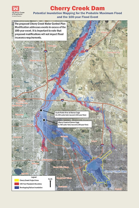 The proposed Cherry Creek Water Control Plan Modification addresses events in excess of the 100-year event. It is important to note that proposed modifications will not impact flood
