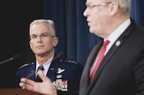 Air Force Gen. Paul J. Selva, vice chairman of the Joint Chiefs of Staff, joins Deputy Defense Secretary Bob Work for a Pentagon news conference on the president's fiscal year 2017 defense budget request, Feb. 9, 2016. DoD photo by Army Staff Sgt. Sean K. Harp