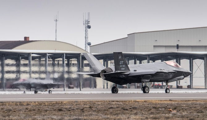 Two U.S. Air Force F-35A Lightning II, also known as Joint Strike Fighters, taxi after landing at Mountain Home Air Force Base, Idaho, Feb. 8, 2016. The F-35, visiting from Edwards Air Force Base, California, will be part of an initial operating capability test at the nearby range complex. (U.S. Air Force photo by Tech. Sgt. Samuel Morse/RELEASED)