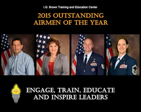 MCGHEE TYSON AIR NATIONAL GUARD BASE, Tenn. - From left: Category II Civilian of the Year, David Barlow; Category III Civilian of the Year, Tammie Smeltzer; Noncommissioned Officer of the Year, Tech. Sgt. John McClean; and Senior Noncommissioned Officer of the Year, Senior Master Sgt.  Christine Shawhan. (U.S. Air National Guard file photo illustration/Released)