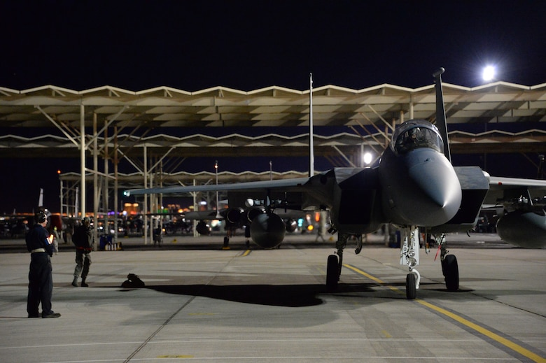 Members of 144th Fighter Wing participate in night operations at Nellis AFB  Feb.5, 2016, as part of Red Flag 16-1. Red Flag is a realistic combat training exercise which involves air, space and cyber forces from the U.S. and its allies. (U.S. Air National Guard photo by Master Sgt. David J. Loeffler).