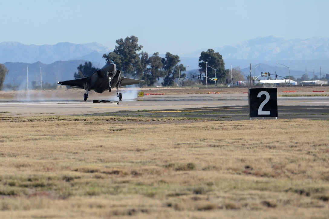Lt. Col. Matthew Hayden, 56th Fighter Wing chief of safety and pilot attached to the 61st Fighter Squadron, lands after completing his 270th sortie in which he became the first Air Force pilot to reach 500 flight hours in the F-35, Feb. 2, 2016, at Luke Air Force Base. (U.S. Air Force photo by Airman 1st Class Ridge Shan)